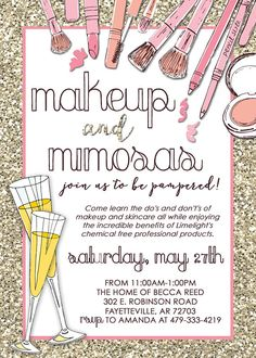 Makeup Consultant Party invitation: perfect for Limelight, Mary Kay, Lipsense or any other makeup industry!
