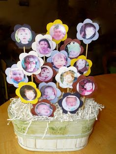 DIY Picture Photo Flower Bouquet Planter. Perfect for mother's day. #mothersday #grandchild #babies