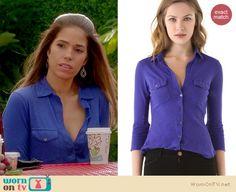 Marisol's blue button front shirt on Devious Maids. Outfit details: http://wornontv.net/17257/