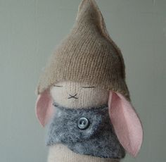 Pale Pink Taupe and Gray Bunny by Makeitawesome on Etsy