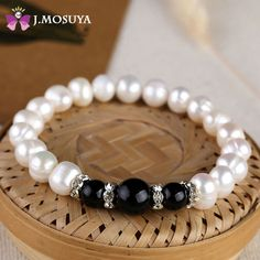 J.MOSUYA 100% Natural Pearl Bracelet With Agate & Onyx Women Freshwater Baroque Pearl Jewelry