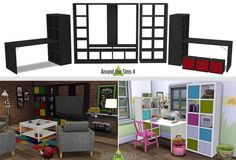 IKEA-like Expedit/Kallax Furniture at Around the Sims 4 via Sims 4 Updates