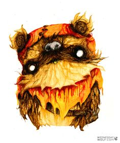 Wicket Disney Star Wars, Various Artists, Watercolours, Make Me Smile, Wednesday, Rooster, Wolf, Abstract, Painting