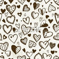 Seamless pattern with valentine hearts, sketch drawing for your design photo