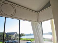 Kitchen window cornice nailhead trim ideas for 2019 Window Cornice Diy, Window Cornices, Window Coverings, Window Treatments, Valances, Interior Design Games, Interior Design Courses, Home Curtains, Rustic Curtains