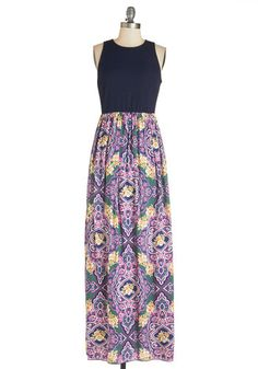 First on the Dance Floor Dress - Long, Knit, Woven, Multi, Green, Blue, Purple, Pink, Floral, Maxi, Twofer, Sleeveless, Summer