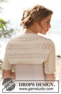 "Knitted DROPS shrug with cables and lace pattern in ""Alpaca"" and ""Kid-Silk"". Size: S - XXXL. ~ DROPS Design"