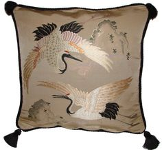 Antique Asian Decor: Fukusa Accent Pillow with Crane Pair and Philosopher's Mo. - Antique Asian Decor: Fukusa Accent Pillow with Crane Pair and Philosopher's Mountain from Japan -