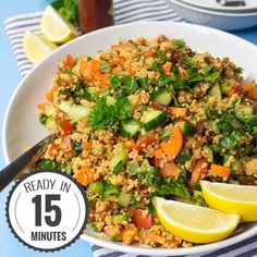 Colourful Tabbouleh Salad - bring Mediterranean flair to the table or into your lunch box! Ready in just 15 minutes, vegan and super tasty!