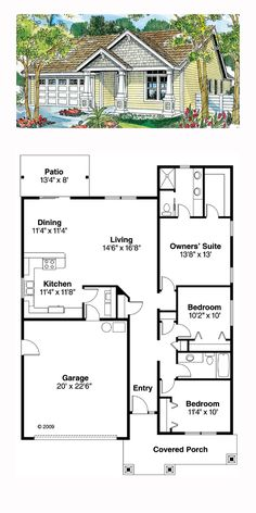 Bungalow House Plan 59713 | Total Living Area: 1500 sq. ft., 3 bedrooms and 2 bathrooms. #bungalowhome