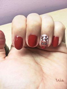 Santa's reindeer nail art/Christmas nails/red nail art