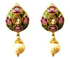 Indigo Flower Meena earring reverse