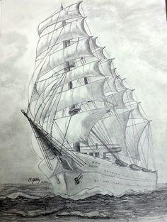 Sailing Ship - Size: 35x50 cm - Drawing Technique: Graphite Pencil