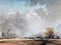 Landscape with oast houses, Kent by Rowland Hilder