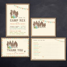 Vintage Camping themed Birthday, Shower and Sprinkle Package Printable Invitation + Thank You Card + wishes + Table Tent