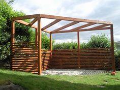 Pergola Holz mit Sonnensegel, ged. Sitzplatz, Sonnenschutz