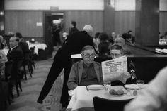 beauvoiriana:  Simone de Beauvoir and Jean-Paul Sartre waiting for lunch at the 'La Coupole'restaurant, Paris, 1973. Photo: Guy Le Querrec....