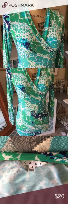 Cabi top in cool colors You'll be cool as a cucumber this summer in this beautifully vibrant and totally comfortable Cabi top! It It has enough structure to be slimming but not too much to be hot. CAbi Tops Tees - Long Sleeve