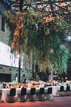 NGV installation, hanging greens, peppercorn, magnolia, eucalypt Cecilia Fox