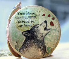 Wolf heart locket love vintage print