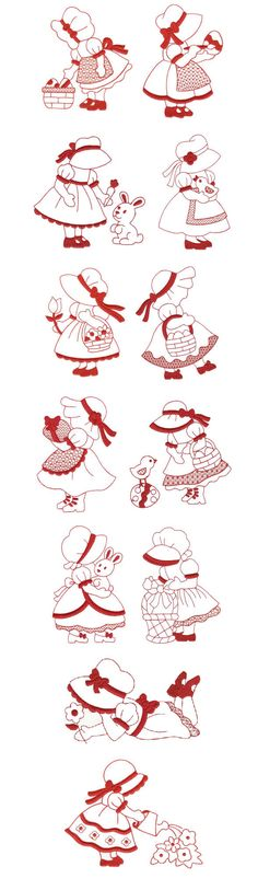 Cute embroidery redwork Pinned by Karla Cary! Free Machine Embroidery Designs, Applique Patterns, Applique Quilts, Applique Designs, Quilt Patterns, Embroidery Applique, Cross Stitch Embroidery, Paper Embroidery, Sue Sunbonnet