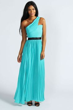 Kirsty One Shoulder Pleated Contrast Maxi Dress
