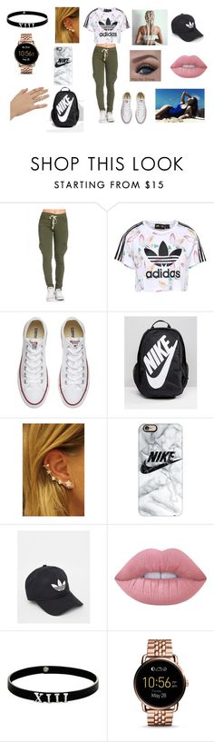 """""""School Casual"""" by ivonnevasquez on Polyvore featuring adidas Originals, Converse, NIKE, Casetify, adidas, Lime Crime, Topshop, Lynn Ban and FOSSIL"""