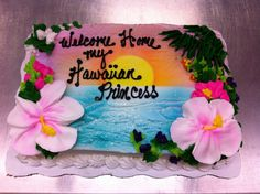 Tropic Airbrush Cake, Hawaiian Theme, Bread And Pastries, Luau Party, Dessert Recipes, Desserts, Cakes And More, Birthday Cakes, Cake Ideas