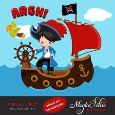 Pirates Ships and Treasure Island Clipart Boys Instant by mujka