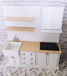 tiles Farmhouse Miniature kitchen, modern kitchen for dollhouse, farmhouse kitchen, functional mini kitchen, mini modern dollhouse furniture Miniature kitchen modern kitchen for dollhouse farmhouse image 3 Modern Dollhouse Furniture, Barbie Furniture, Miniature Furniture, Kitchen Furniture, Mini Kitchen, Miniature Kitchen, Kitchen Modern, Doll House Kitchen, Miniature Dolls