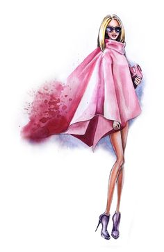 Street style fashion illustration, pink look by Olga Dvoryanskaya