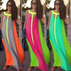 Señora mujeres partido tarde Boho Summer Beach largo atractivo gasa vestido maxi