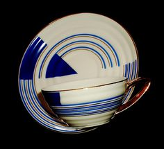 Hand painted Art deco coffee cup, SP Coimbra, Portugal