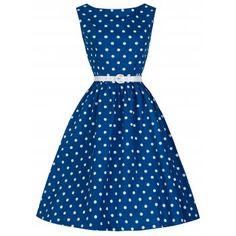 Audrey Blue Polka Swing Dress | Vintage Inspired Fashion - Lindy Bop