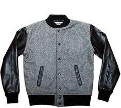 Reason Clothing   Sale   Alma Mater Varsity Jacket Grey/Black   Blackplanet Next