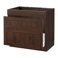 "SEKTION Base cabinet f/sink & waste sorting - wood effect brown, Edserum wood effect brown, 36x24x30 "" - IKEA"
