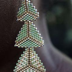 Green, Cream & Gold Geometric Drop Earrings