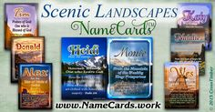 Christian name meanings printed on pocket-sized cards with scenic landscapes, mountains and sunsets.  Personalize with any name at www.NameCards.work for just $3.99!