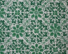 1950's Vintage Wallpaper - Geometric Wallpaper of Green and White