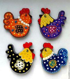 """Магниты ручной работы. Ярмарка Мастеров - ручная работа. Купить магниты """"Курочки и Петушки"""". Handmade. Комбинированный, петухи, год петуха, лак"""