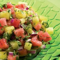 Watermelon Salsa  3 cups  finely diced seedless watermelon, (about 2 1/4 pounds with the rind) (see Tip)  2   jalapeno peppers, seeded and minced (see Ingredient note)  1/3 cup  chopped cilantro, (about 1/2 bunch)  1/4 cup  lime juice  1/4 cup  minced red onion, (about 1/2 small)  1/4 teaspoon  salt, or to taste
