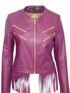 Barone leather jacket. Couture quality confection. High-end fuchsia lamb leather. Lower front with fringes and ostrich foot leather in the back. Golden zipper. French fabrication.lambRingertwo pocketszip
