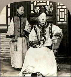 THE MANCHU MAMA of OLD CHINA and her Little Maid with a Pipe and Fingernail Protectors by Okinawa Soba, via Flickr