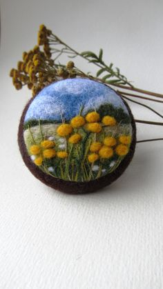 Needle felted yellow flower brooch Felt embroidery brooch Wool felt jewelry Gift…