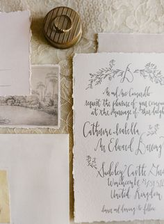 Ripped edges + Calligraphy | http://www.signoramare.com/portfolio/#/french-wedding-inspiration/