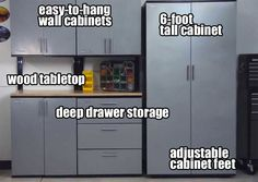 Stack-On Garage Cabinets Look High-End but have a Low Cost. They Maximize Storage Space, Can be Customizable and are Easy to Assemble.