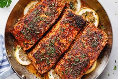 Blackened Salmon with Lemon Butter Sauce – Perfectly seasoned, flaky, and super easy to make, this delicious blackened salmon recipe is fool-proof and ready in under 30 minutes. Delicious Salmon Recipes, Fish Recipes, Seafood Recipes, Dinner Recipes, Cooking Recipes, Dinner Ideas, Salmon Steak Recipes, Healthy Recipes, Seafood Dishes