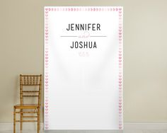 Personalized Pink Watercolor Photo Backdrop - Hearts
