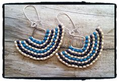 Diamond Hoop Beadwoven Earrings Slate and Navy by JuneMoonBeads, $17.99