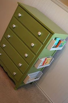 attach an old spice rack on the side of a dresser to create a space for books - Easy Diy Furniture Old Dressers, Painted Dressers, Kid Spaces, Small Spaces, Kids Bedroom, Kids Rooms, Bedroom Ideas, Getting Organized, Girl Room